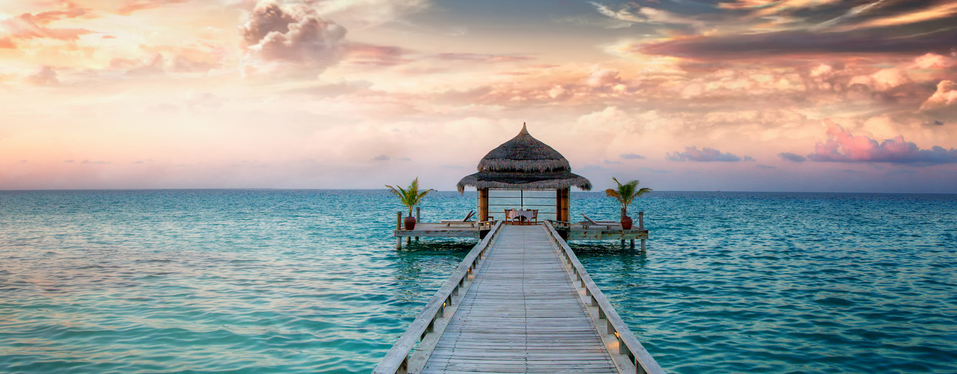 Idyllic arbor on water, Maldive Islands