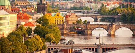 Scenic view on Vltava river and historical center of Prague