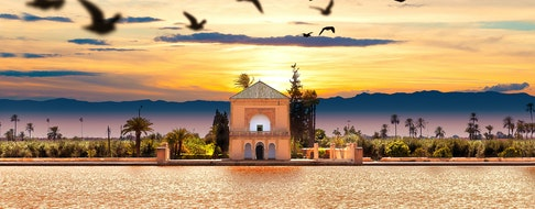 Scenical Menara garden.Travel to morocco. Marrakech Landmark and architecture.Scenic landscape