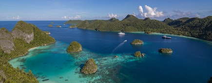 Tropical West Papua New Guinea Raja Ampat on a tropical sunny day