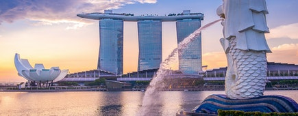 Merlion by marina bay in singapore, Marina Bay Sands background, Art Science museum