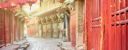 old chinese street with lantern