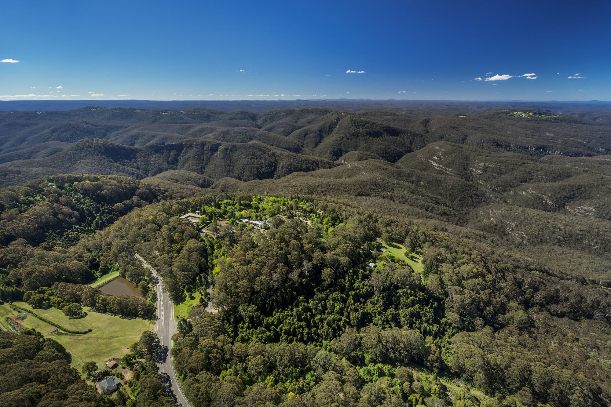 Aerial view of The Blue Mountains National Park.