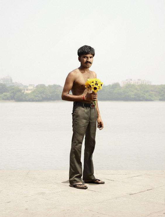 Ashok Singh with sunflowers