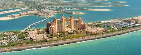 Panoramic view of Dubai from Palm Island