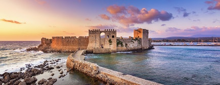 The Venetian Fortress of Methoni at sunset in Peloponnese, Messenia, Greece