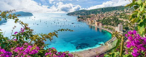 View of French Riviera coast with medieval town Villefranche sur Mer, Nice region, France