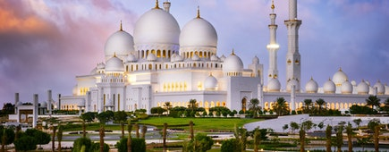 Sheikh Zayed Grand Mosque at dusk (Abu-Dhabi, UAE)