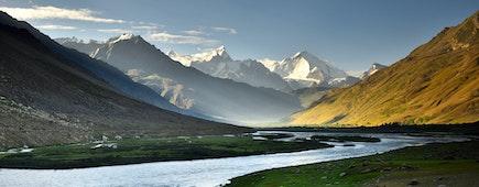 suru river and big mountain background ,Kargil,Jammu and Kashmir,India
