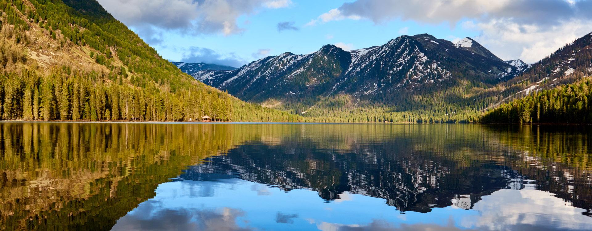 View of the Rakhmanov lake. Katon Karagai National Park. East Kazakhstan region