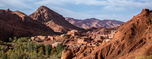 village in the Atlas Mountains view from the road in Morocco