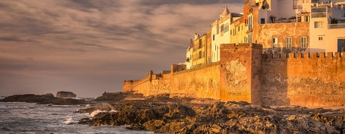 Essaouira old city walls in Morocco, sunset