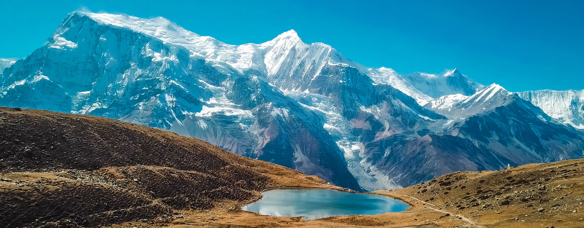 Ice lake, as part of the Annapurna Circuit Trek detour, Himalayas, Nepal. Annapurna chain in the back, covered with snow