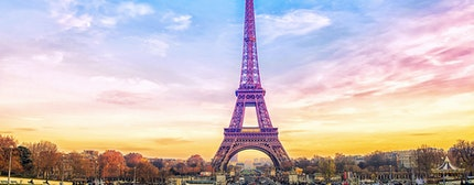 Eiffel Tower at sunset in Paris, France