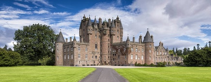 View of Glamis Castle in Scotland, United Kingdom. Glamis in Angus. Home of the Countess of Strathmore and Kinghorne.