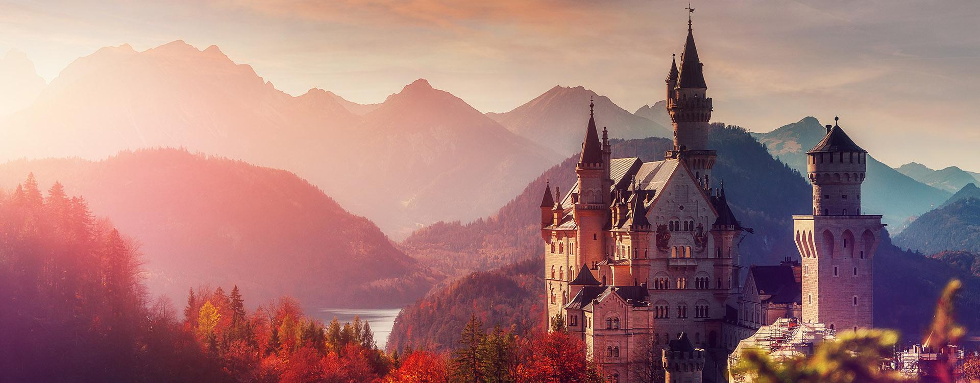 Castle near Munich in Bavaria, Germany. Natural Landscape.