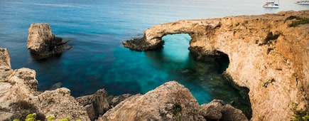 Beautiful natural rock arch of Ayia Napa on Cyprus island