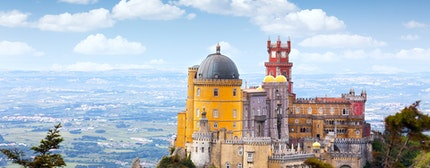 Aerial view of Palace da Pena - Sintra, Lisboa, Portugal