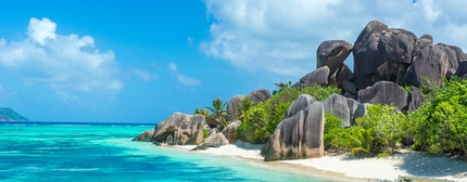 Anse Source d'Argent - granite rocks on tropical island La Digue in Seychelles