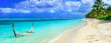 hammock in turquoise water. Mauritius island