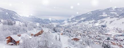 Snow in Megève French alps ski resort