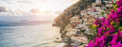 View of the town of Positano with flowers, Amalfi Coast, Italy