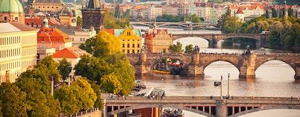 Scenic view on Vltava river and historical center of Prague