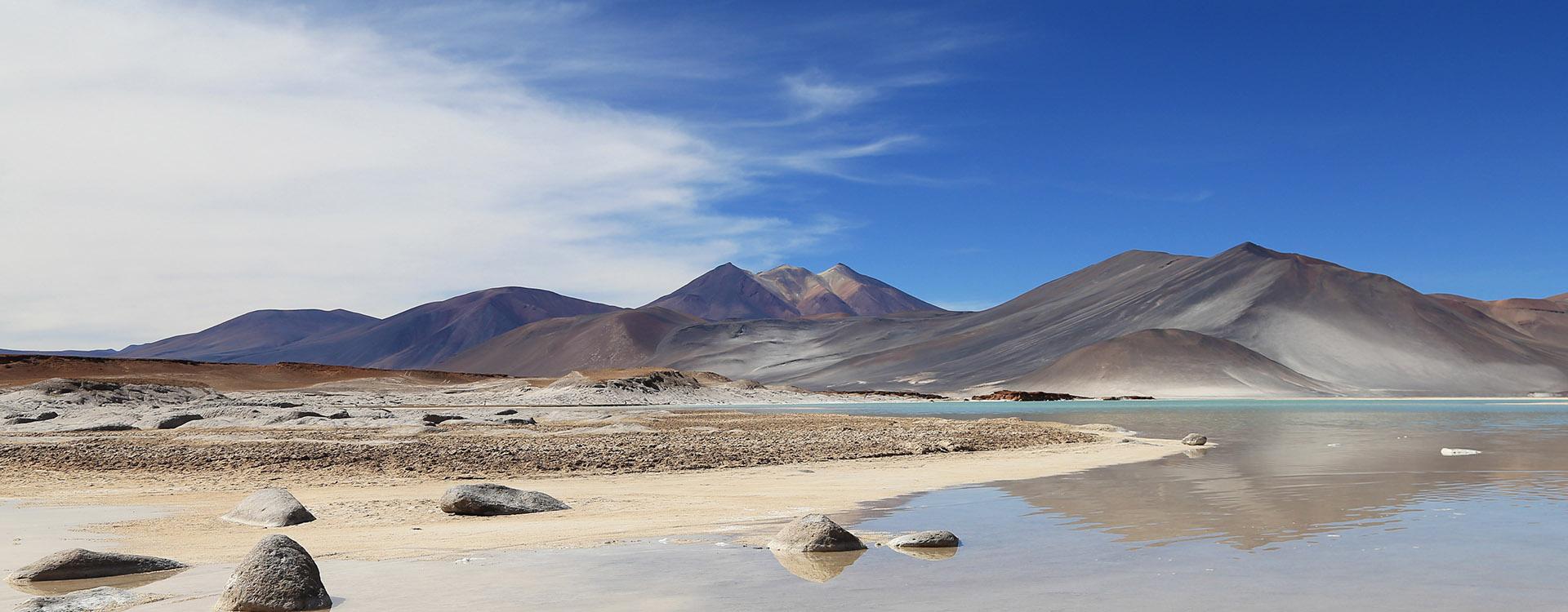 Salt lake in Los Flamencos National Reserve, desert Atacama, Chile