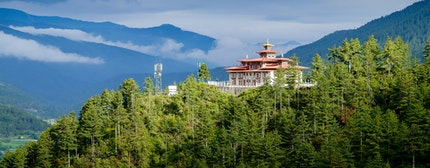 Scenic Bumthang Bhutan. A typical architectural structure of Bhutan.