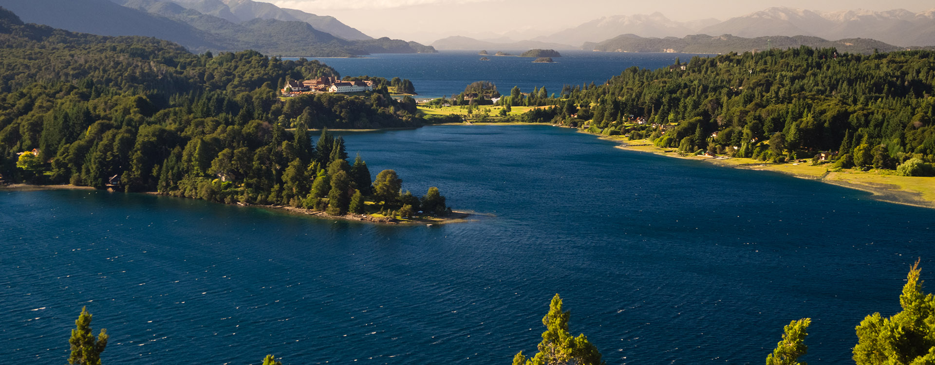 Argentine Lake District at sunrise view of the Llao Llao hotel and the lake lago Nahuel Huapi. Patagonia