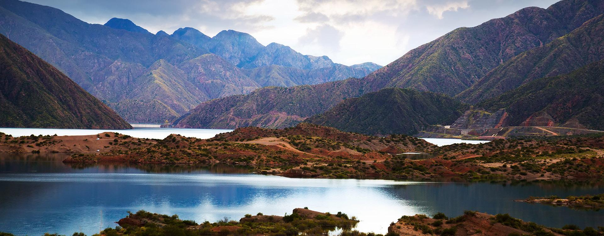View of lake in district Potrerillos of Mendoza province, Argentina, South America