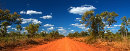 outback red road in the Northern Territory of Australia on a sunny day