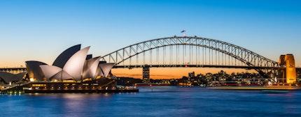 The Sydney Opera House with Harbour bridge in Sydney Australia, Designed by Danish architect Jorn Utzon
