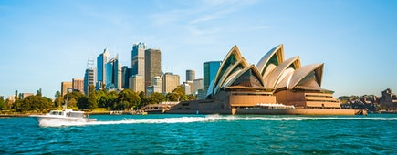 The city skyline of Sydney, Australia. Circular Quay and Opera House