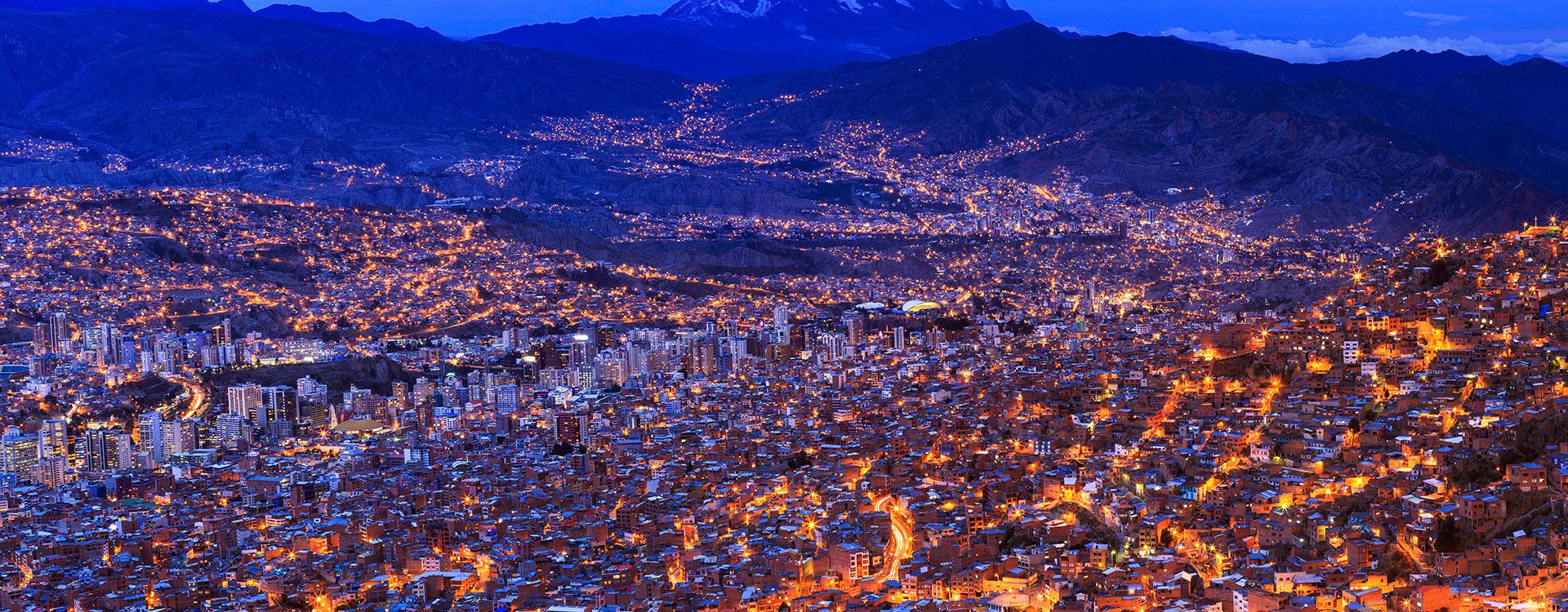 Night view of La Paz, Bolivia