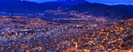 Night view of La Paz, Bolivia