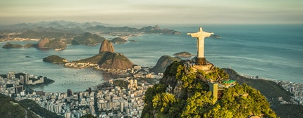 Aerial panorama of Christ and Sugar Loaf Mountain, Rio De Janeiro, Brazil. Vintage