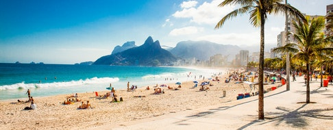 Palms and Two Brothers Mountain on Ipanema beach in Rio de Janeiro. Brazil