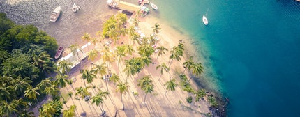 Aerial view of Marigot bay in St Lucia