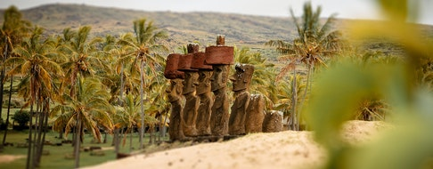 The Moai's at Anakena beach on Easter Island, Chile