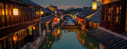China, Shanghai, Zhouzhuang water town, ancient city district