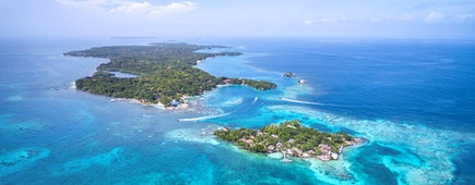 Rosario Islands in Cartagena de Indias, Colombia, aerial view