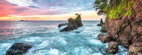 Long exposure of the sunset over the Pacific Ocean on the west side of the Osa Peninsula, Costa Rica