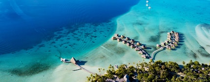 Taha aerial view panorama landscape French Polynesia