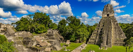 Guatemala. Tikal National Park on UNESCO World Heritage Site. The Grand Plaza with the North Acropolis and Temple I