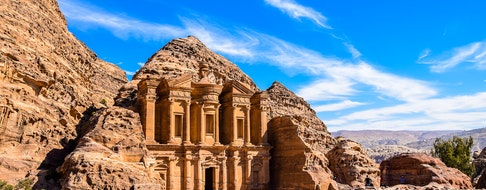 Highlight of Petra, the amazing Ad Deir, The Monastery with blue sky
