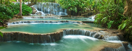 Kuang Si cascading waterfall in rain forest, Luang prabang, Laos