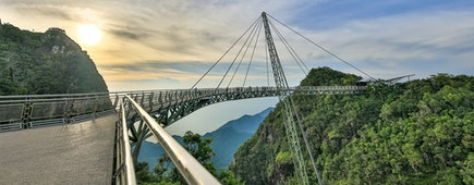 Skybridge over rainforest Langkawi Malaysia