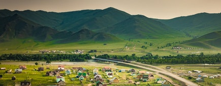 Beautiful Town and mountains Ulaanbaatar, Bordered by China and Russia