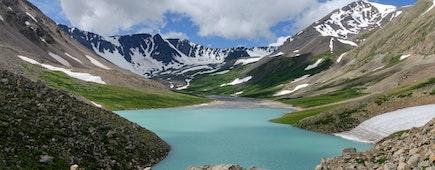 Western Mongolia mountain landscape. Alpine lake. Altai Tavan Bogd National Park, Mongolia